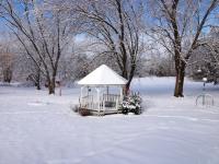 Gazebo wet snow sunny